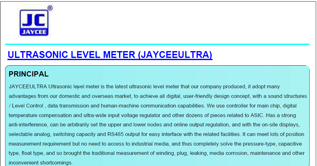 JAYCEEULTRA-Ultrasonic-level-meter