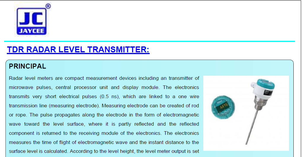TDR-RADAR-LEVEL-TRANSMITTER