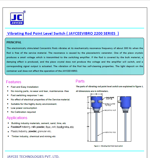 Vibrating-Fork-Level-Switch-JAYCEEFORK-2000-SERIES